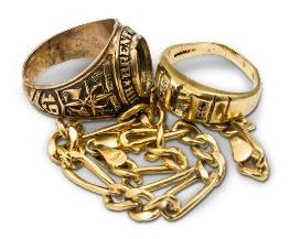 Gold scrap jewelry rings and chains